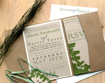 "Rustic, Eco Friendly Pocket Fold Wedding Invitations, Winery Wedding, Tuscan Winery Wedding Invitations - ""Rustic Chic Winery"" Sample"