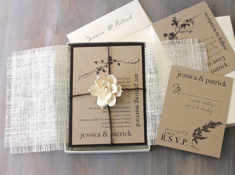 Wedding Invites Rustic: Burlap Wedding Invitations Rustic Boxed Wedding