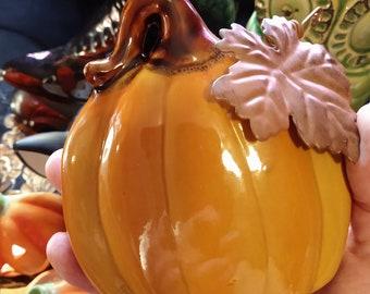 Orange Ceramic Pumpkin Metal Leaf & Stem Halloween Autumn Decor