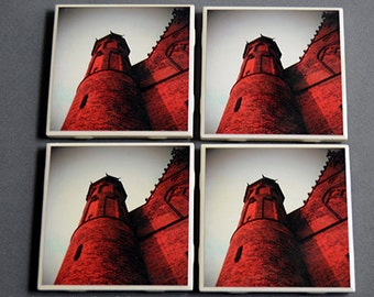 Set of Four Drink Coasters Castle Turret Dark Fairy Tale Blood Red Vampire Haunted Photograph Surreal Dark Jewel Tones Art by LadyAlchemy13