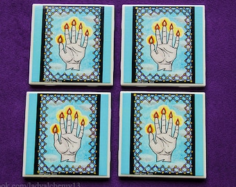 Set of Four Drink Coasters Hand Glory Finger Flames Blue Sky Clouds Colorful Original Painting Surreal Dark Jewel Tones Art by LadyAlchemy13