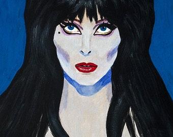 Elvira Portrait Mistress of the Dark Horror Hostess Vamp Camp Signed Print of Original Painting Surreal Dark Jewel Tone Art by LadyAlchemy13