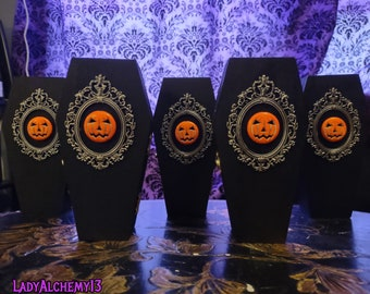 "Pumpkin Coffin Box 6"" Wooden Ring Box Trinket Stash Small Pet Black Silver Metal Frame Macabre Art & Magickal Accoutrements by LadyAlchemy13"