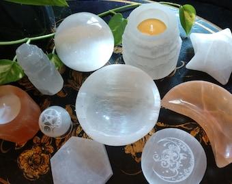 Selenite Satin Spar Crystal High Vibration Moon Star Castle Pentagram Sphere Gemstones Macabre Art & Magickal Accoutrements by LadyAlchemy13
