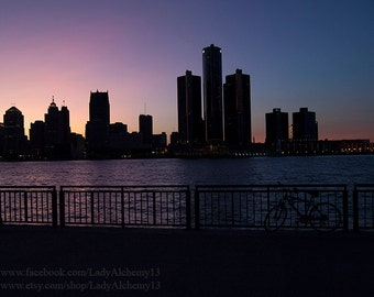 Detroit Michigan Skyline Sunset Detroit River Urban City Downtown Signed Photograph Surreal Dark Jewel Tones Art by LadyAlchemy13