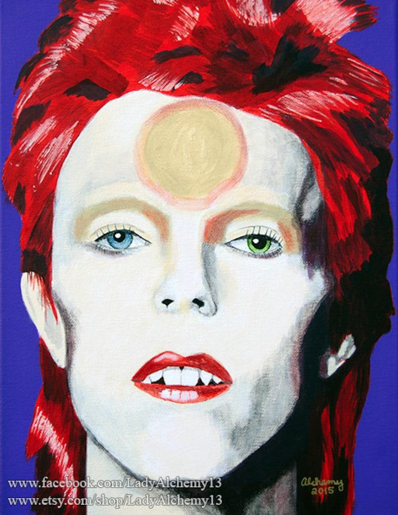 Ziggy Stardust David Bowie Spiders from Mars Glam Portrait Signed Print of  Original Painting Surreal Dark Jewel Tones Art by LadyAlchemy13