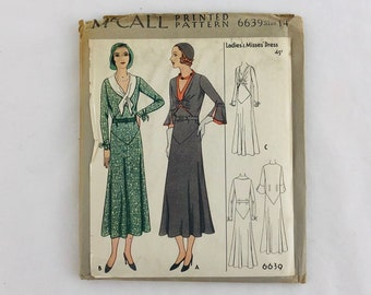 30s Sewing Pattern Art Deco 1930s Vintage NOS McCall 6639 Misses' Dress Bust 32 Size 14 Thirties 30s Antique Dress Factory Folded 1931