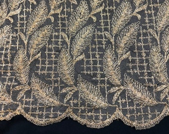 1920's Art Deco Metallic Lace Skirt Metal Flapper Antique Vintage Gold Leaves Silk Tulle Net Thread  Doll Costume Design Textile Embroidered
