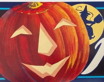 1950's Vintage Halloween Decor Label Pumpkin JOL Witch Black Cat NOS Decoration Paper Printed Orange Advertising Jack-O-Lantern Fruit Crate
