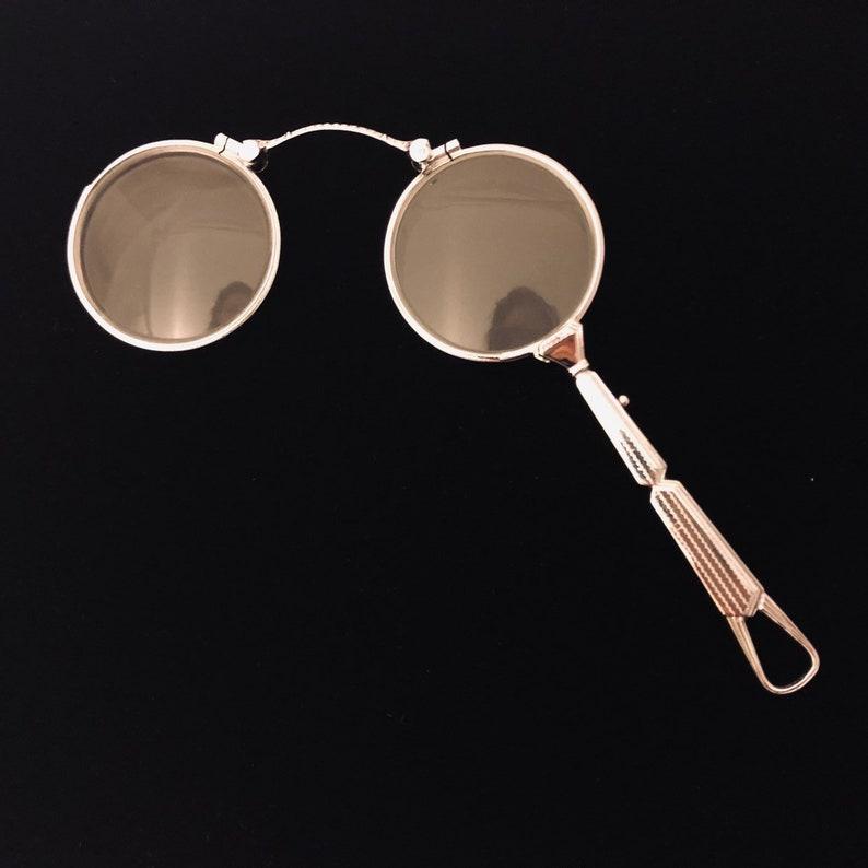 9e3bf9758f3 Antique 1930s Eyeglasses Lorgnette Art Deco Spectacles Folding