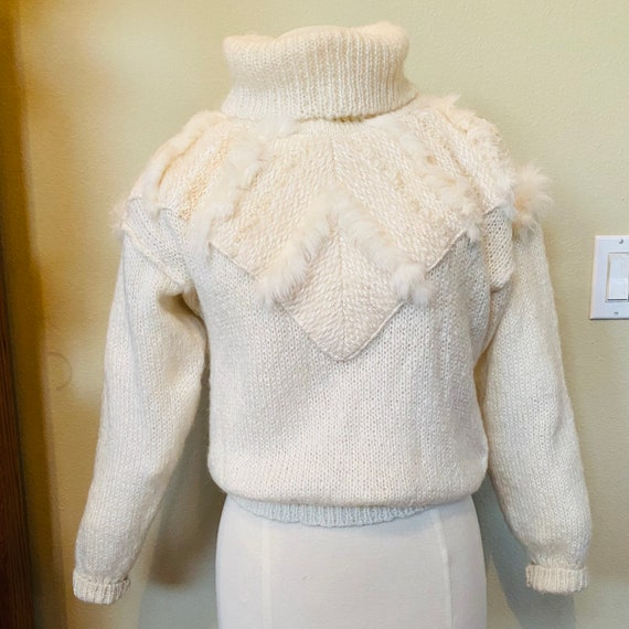 Vintage Sweater Hand Knit Jumper Ivory 1980s with… - image 4
