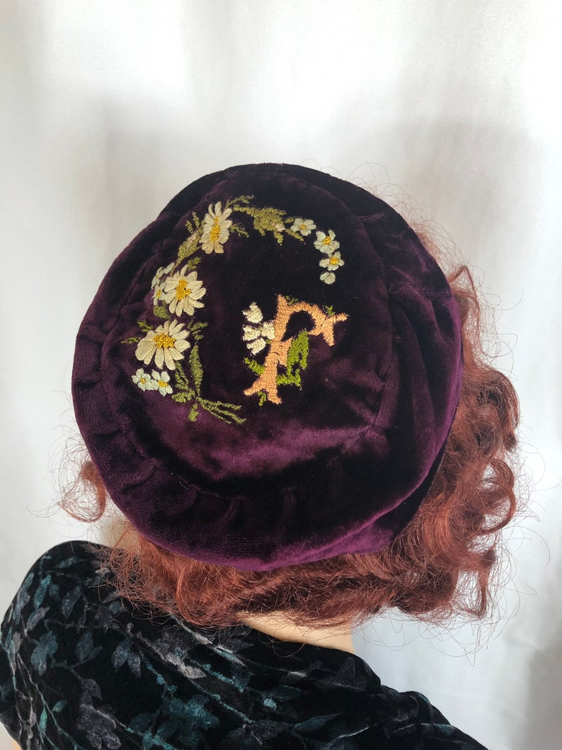 5cf78ae49 1800's Victorian Smoking Hat Cap Purple Velvet Embroidered Vintage Antique  Initial Monogram Letter F Flowers Man's Woman's Size 23