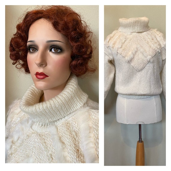 Vintage Sweater Hand Knit Jumper Ivory 1980s with… - image 1