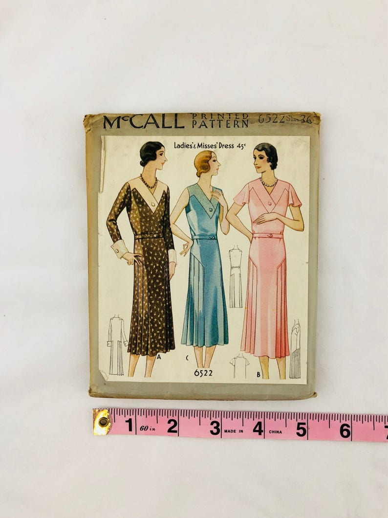 Sewing Pattern Art Deco 1930s Vintage McCall 6522 Misses/' Dress Bust 36 Hip 39 Thirties 30s Dress Pattern Factory Folded