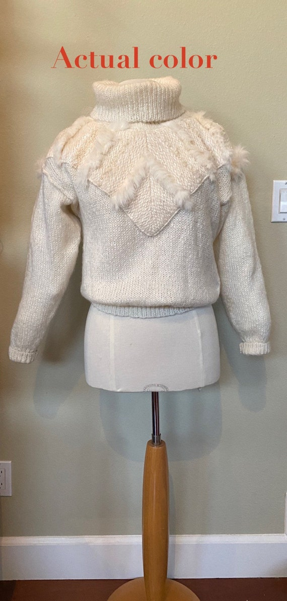 Vintage Sweater Hand Knit Jumper Ivory 1980s with… - image 8