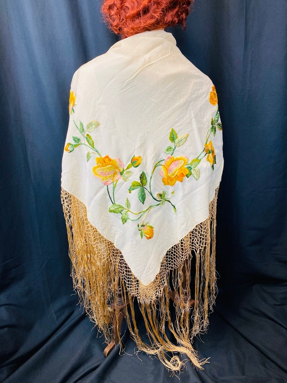 1920's Piano Shawl Silk Crepe with Fringe and Mirr