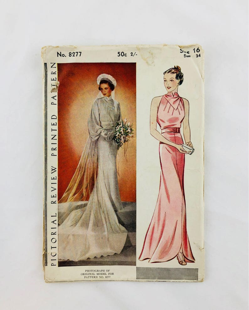 Sewing Pattern 1930 S Wedding Dress Vintage Pictorial 8277 Etsy