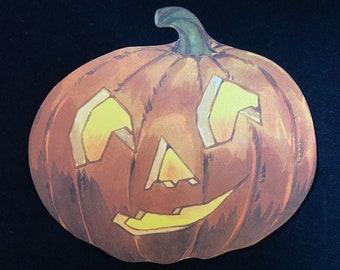 2 Each 1930's Halloween Pumpkin Vintage Decor NOS Antique Decoration Paper Printed Orange Yellow Green Cardstock