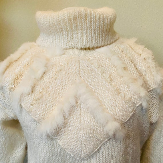 Vintage Sweater Hand Knit Jumper Ivory 1980s with… - image 3
