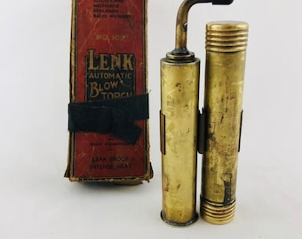 1920's Steampunk Blowtorch Vintage Art Deco Hand Held Burner Twin cannisters Blow torch Lesk Antique Advertising Box and Label 20s Shop Tool
