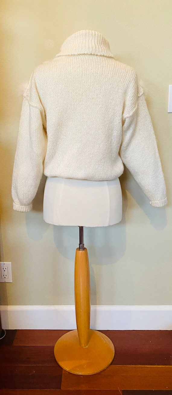 Vintage Sweater Hand Knit Jumper Ivory 1980s with… - image 6
