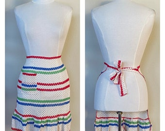 Vintage NOS Apron Patriotic Ruffle Red White Blue Green Flag Colors US Italy Italian South Africa Nambia