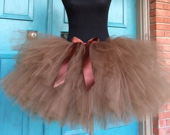 "Solid Brown Adult Tutu for waist up to 34 1/2"" great for Halloween, Birthdays, Dance and Bachelorette parties"