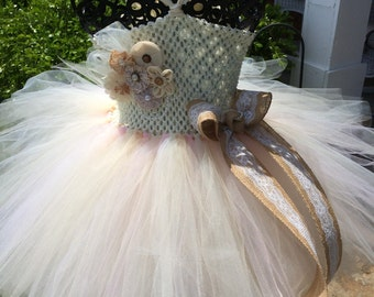 Burlap /& Lace with Rose Accent Couture Flower Girl Tutu Dress Shabby Chic Wedding Rustic Wedding Country Wedding