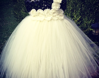 Flower girl tutu dress etsy simply ivory couture flower girl tutu dress shabby chic wedding mightylinksfo
