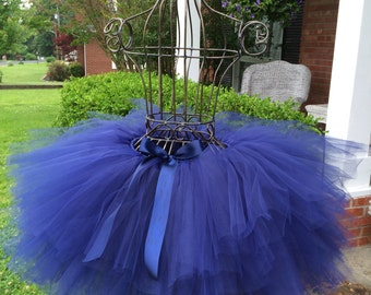 "Solid Navy Adult Tutu for waist up to 34 1/2"" great for Halloween, Birthdays, Dance and Bachelorette parties"