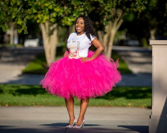 "Fuchsia Adult Tutu for waist up to 34 1/2"" great for Halloween, Birthdays, Dance and Bachelorette parties"