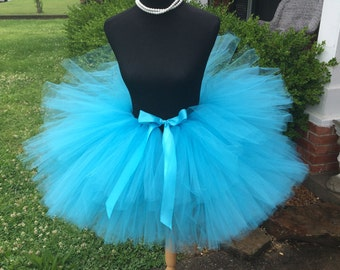 "Solid Turquoise Adult Tutu for waist up to 34 1/2"" great for Halloween, Birthdays, Dance and Bachelorette parties"