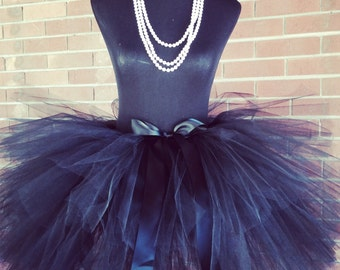 "Solid Black Adult Tutu for waist 35"" up to 45"" great for Mommy & Me photos, birthdays, dance, brides and bridesmaidsand bachelorette parties"