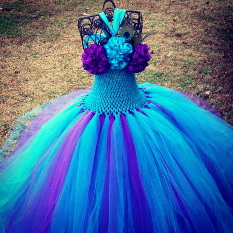 5e30099830ab Peacock Couture Tutu Dress Peacock Flower Girl Tutu Dress | Etsy