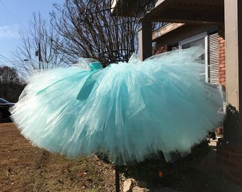 "Solid Aqua Adult Tutu for waist 35"" to 45"" great for Halloween, Birthdays, Dance and Bachelorette parties"