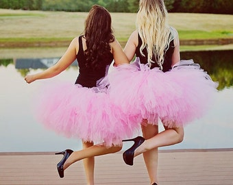 "Solid Pink Adult Tutu  for waist 35"" up to 45"" great for Mommy & Me photos, birthdays, dance, brides and bridesmaidsand bachelorette parties"