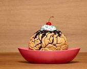 Brain Sundae Zombie Snack Dessert with Cherry Fine Art Photograph Sunday 8x10 8x8