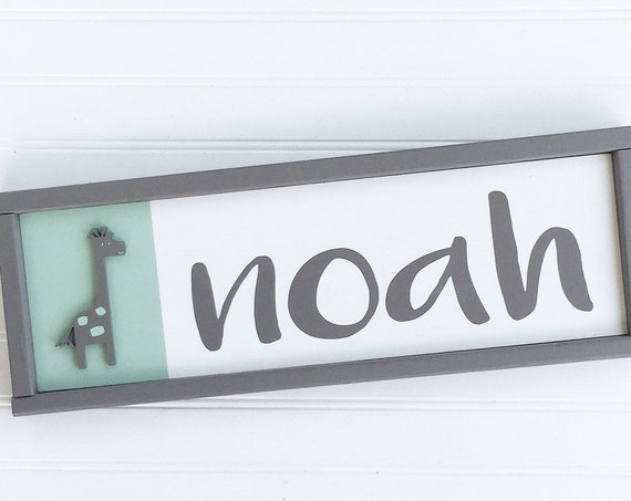 Baby Name Sign. Baby Boy. Uptown Giraffe . Mint and Grey. Giraffe Nursery . Big Boy Room . Coral and Grey . Baby Girl . Nursery Name Sign