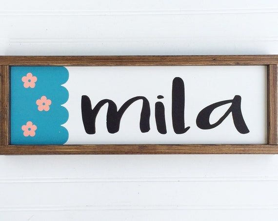 Baby Girl Nursery Name Sign .Peanut Shell Mila . Peanut Shell Gia . Name Sign . Wildflower . Baby GIrl Nursery .Baby Shower .Big Girl Room .