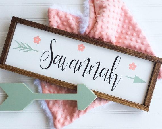 Baby Girl . Baby Name. Boho Nursery .Coral Mint Peach  . Woodland Arrow Name Sign . Boho Sign . Modern Nursery . Big Girl Room