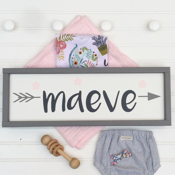 Name Sign . Baby Girl . Boho Tribal Arrow . Pink Grey . Woodland Arrow Name Sign . Boho Sign . Modern Nursery . Big Girl Room .Woodland Girl