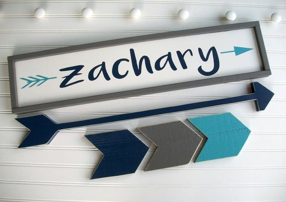 Large Name Sign Set . Big Boy Room . Toddler Room . Woodland Nursery . Custom Baby Name Sign . Long Arrow . Chevrons . Name Sign . Adventure