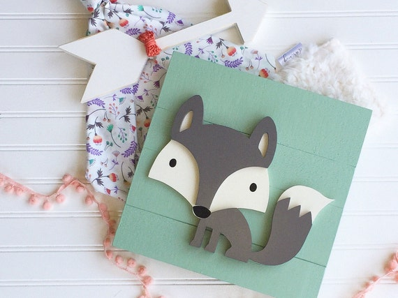 Woodland Fox . Fox Decor. Boho . Mint and Grey . Girls Woodland Nursery.  Fox Nursery. Lambs and Ivy Little Spirit . Woodland Sign