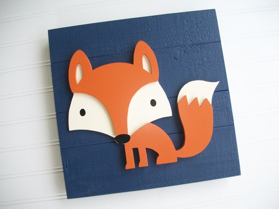 Fox Sign . 12 x 12  3D . Fox Decor . Fox Nursery . Woodland Nursery .Tribal Nursery .Wood Fox . Woodland . Tribal Nursery Art .