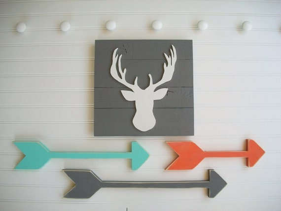 Woodland Nursery Set .Deer Head Sign and Wooden Arrow Set . Antler Sign. Modern Nursery . Tribal Nursery . Boho Baby . Arrow . Boho Arrow