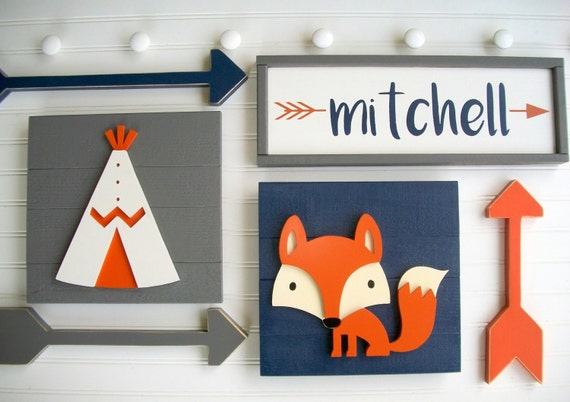 Forest Friends Nursery Set . Forest Nursery . Name Sign . Personalized Baby Name Sign . Teepee . Fox . Arrows . Little Man Cave . Big Boy