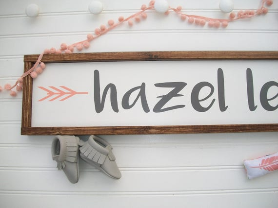 Large Baby Name Sign . Baby Girl . Nursery Decor . Woodland Arrow Name Sign . Woodland Nursery Decor . Nursery Name Sign . Boho Baby