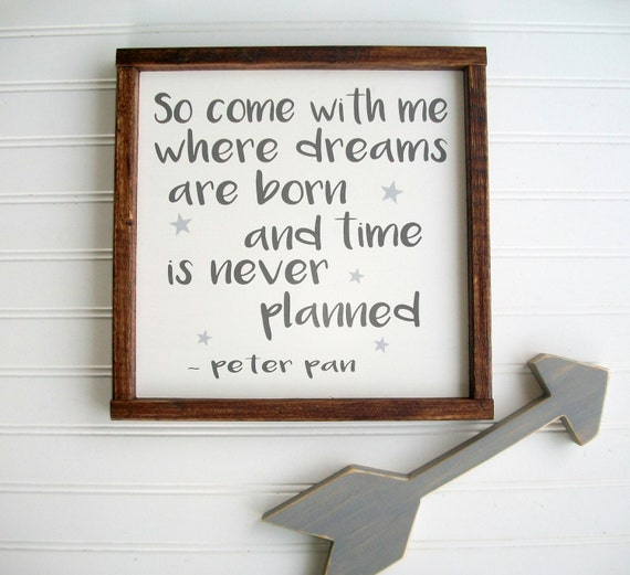 Peter Pan Sign . Come with me where dreams are born . Nursery Sign . Woodland Nursery . Rustic Nursery . Boys Room . Neverland Nursery