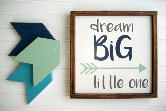 Dream Big Little One Sign . Set . Nursery Sign Set . Woodland Nursery . Arrows . Tribal Arrow Sign . Woodland Nursery Decor . Dream Big Sign
