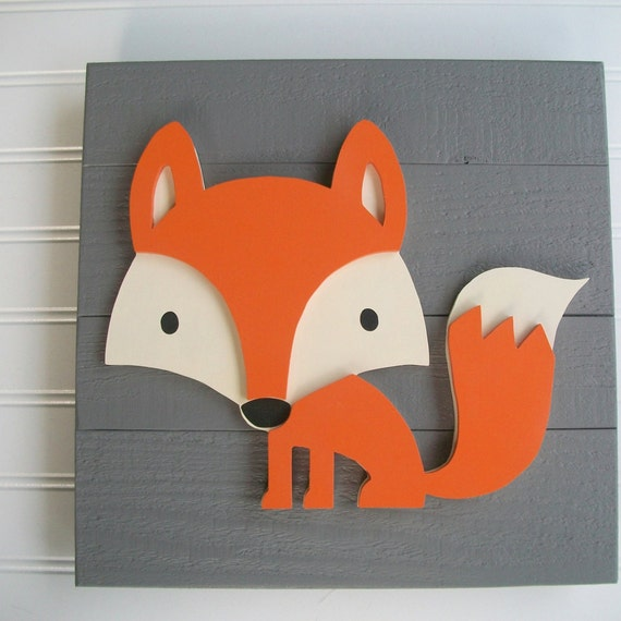 Fox Sign . 12 x 12  3D . Fox Decor . Fox Nursery. Fox Sign .Tribal Nursery .Wood Fox . Woodland . Tribal Nursery Art .
